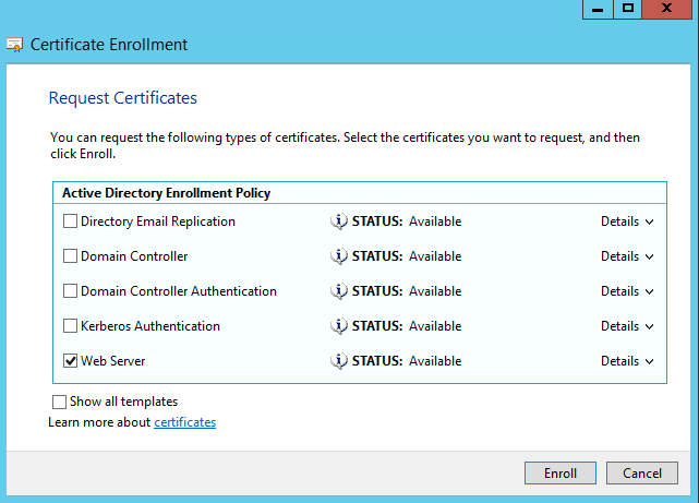 How to enroll a certificate for the network location server for