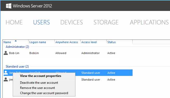 How to manage a user in Windows Server 2012 Essentials