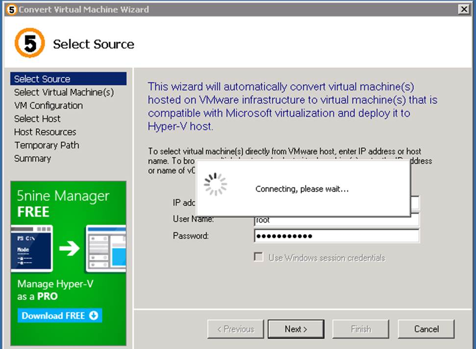 How to use 5nine Easy Converter to convert VM - Step by step