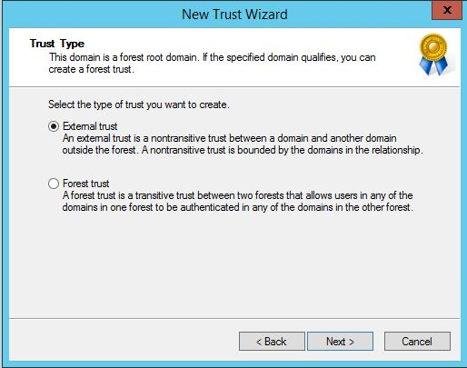 How to create Domain Trust in Windows 2012 r2 DC