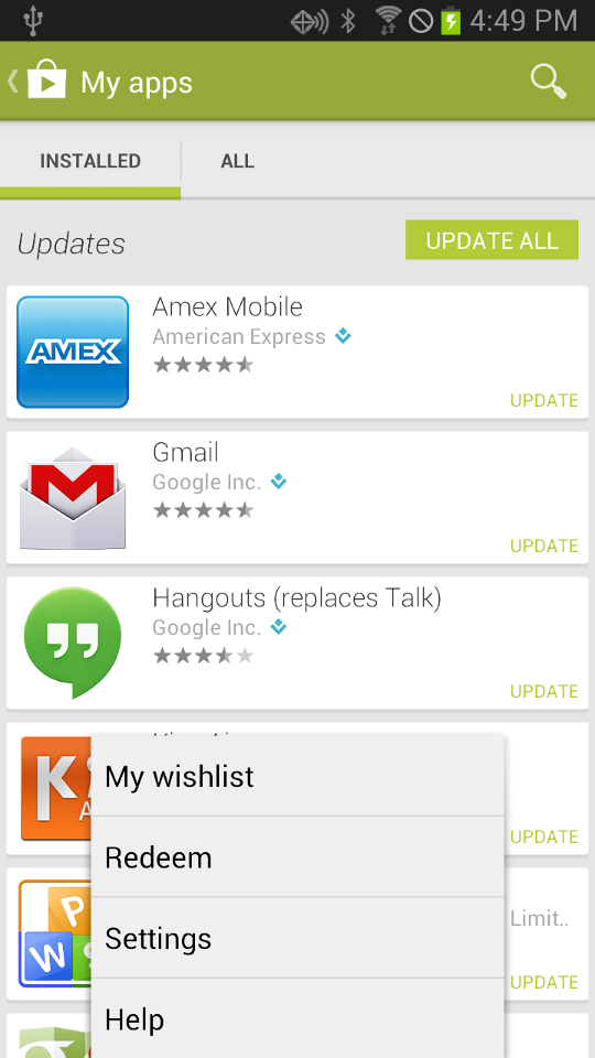 android automatic update settings
