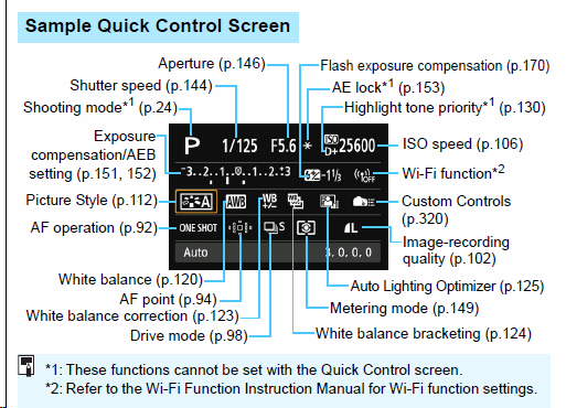 Canon 6d Quick Start Guide 5 Sample Quick Control Screen Step By