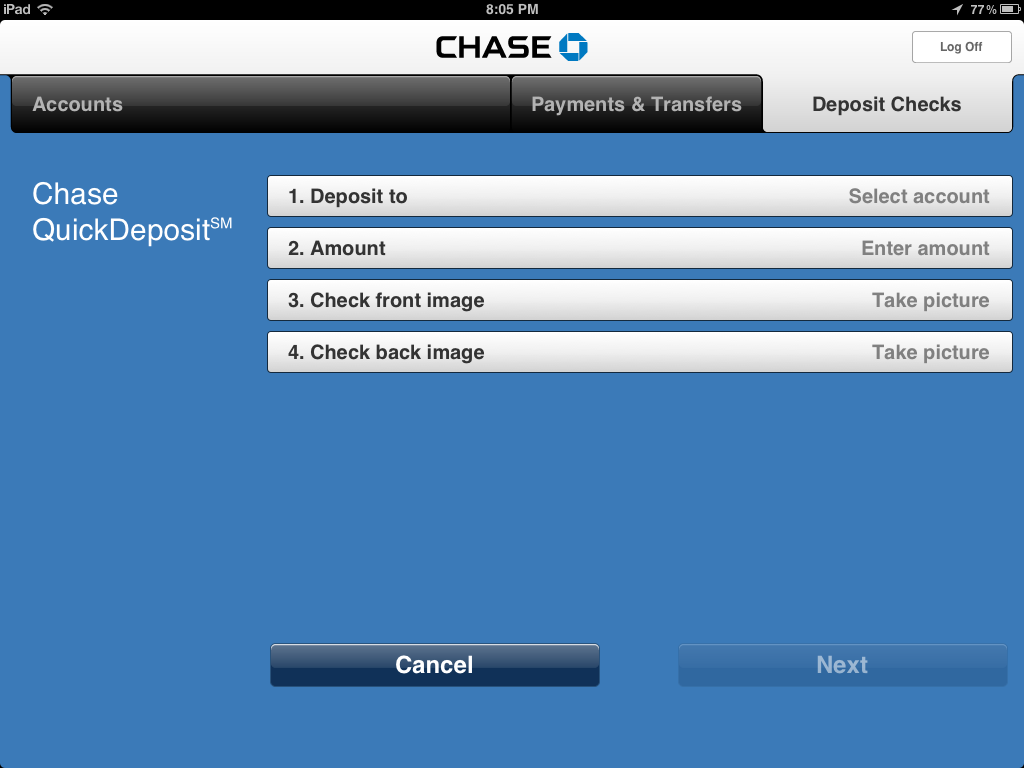 how to deposit checks using chase ipad app - step by step with