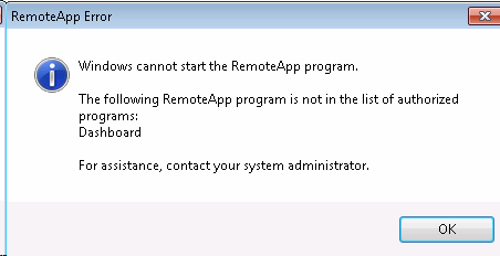 The following RemoteApp program is not in the list of authorized