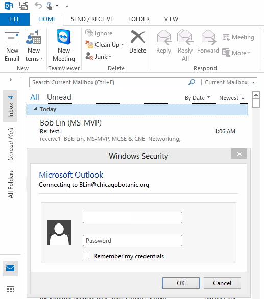 The Outlook keeps asking for entering credentials