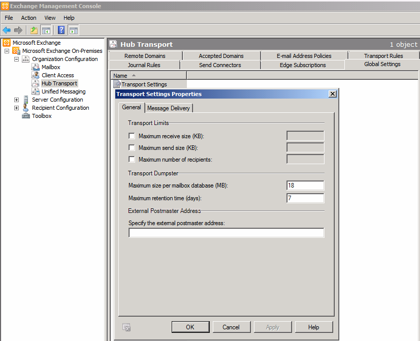 How to setup Receive size and Send size in Exchange 2010