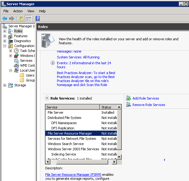 How to install File Server Resource Manager in Windows 2008