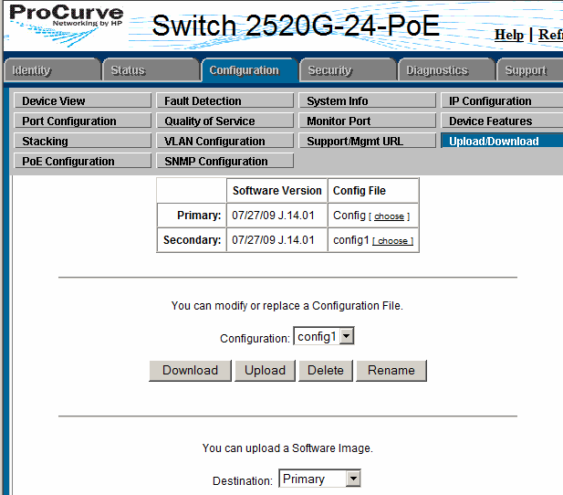 How to Upload /Download Configuration File in HP ProCurve