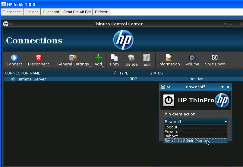 How to switch from User Mode to Admin Mode in HP Thin Client