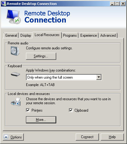 Remote Desktop printer settings