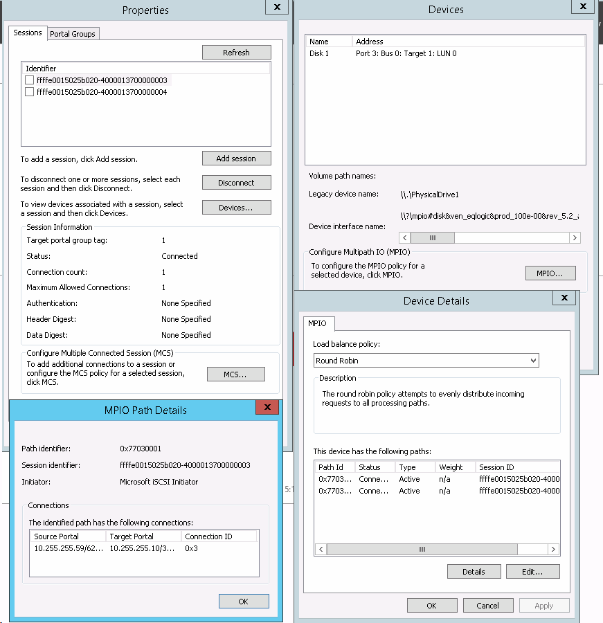 How to configure Multi-Path iSCSI I/O on Windows 2012 R2