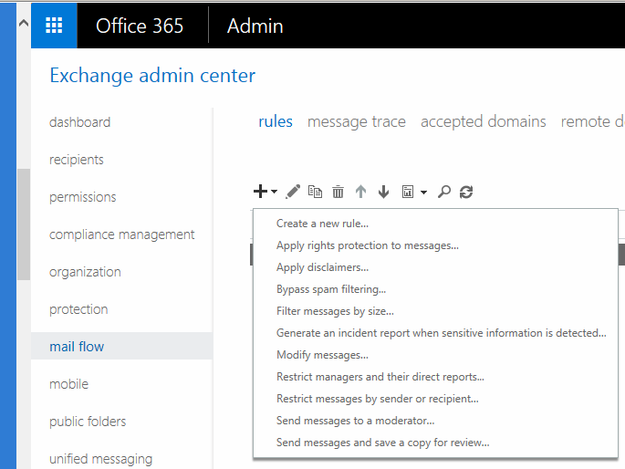 how to create rules in outlook 365