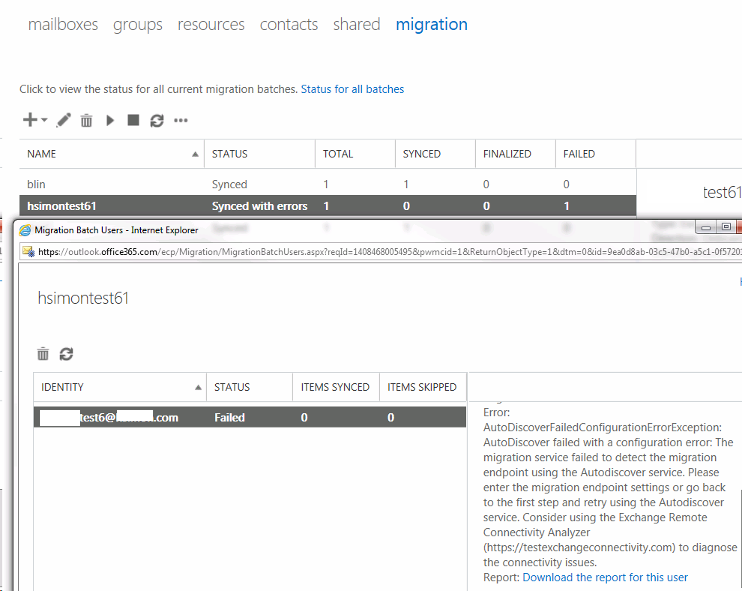 Office 365 migration failed without details - Resolution with