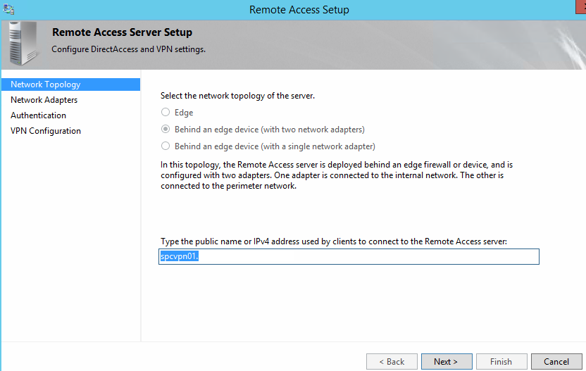 How to Configure or Edit Remote Access Server in DirectAccess - Step