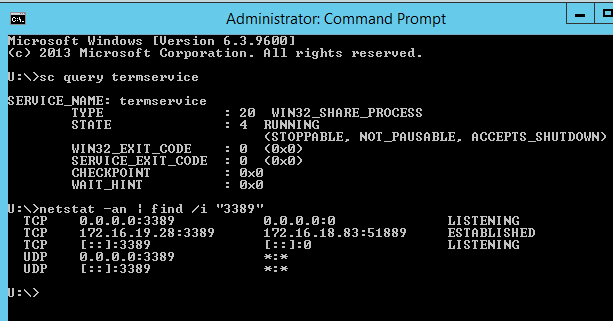 Command lines to check the status of Terminal Services