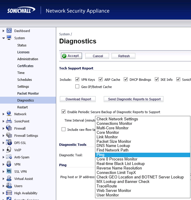 How to test connection on sonicwall