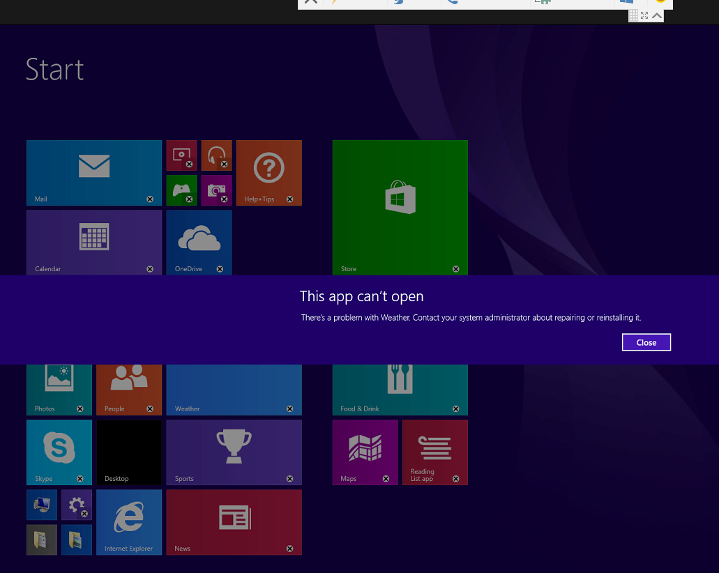 Windows 8: This app can't open - Resolution with screenshots