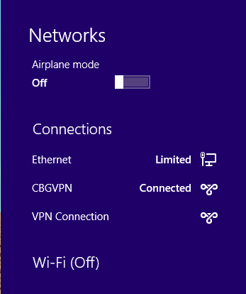 Apps Internet connectivity through VPN connections